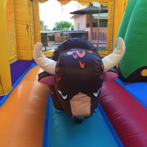 Castillo hinchable con bufalo