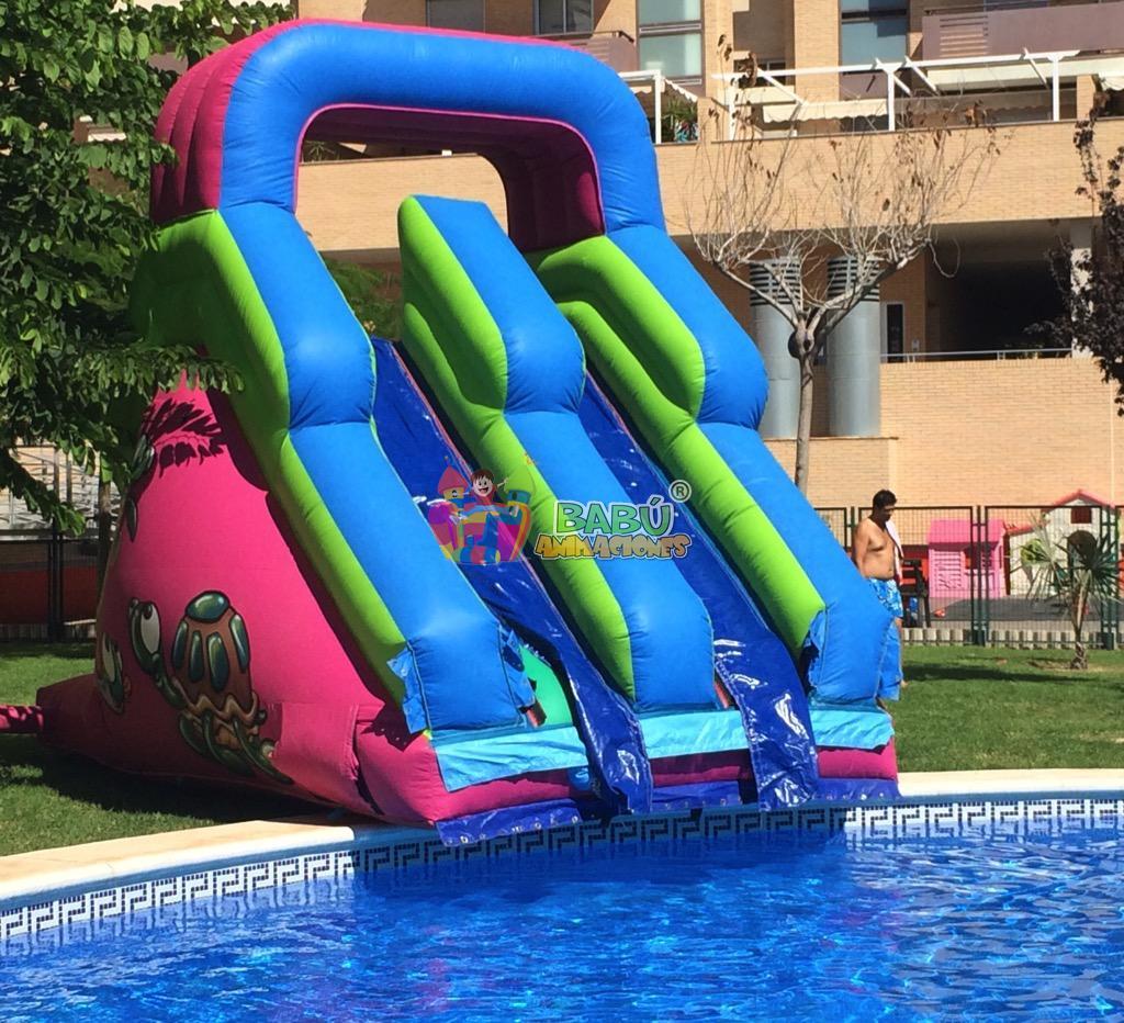 Hinchable tortuga acu tica babu animaciones alquiler castillos hinchables alicante - Tobogan hinchable para piscina ...