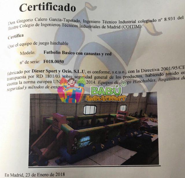 Certificado hinchable saltabolas